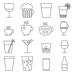 Set of 16 line icons with drinks