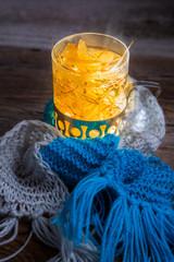 Fototapete - Glass full of linden warming tea