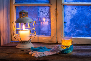 Wall Mural - Winter evening only with hot tea