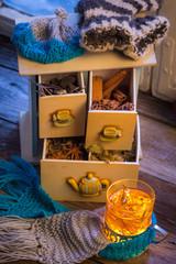 Fototapete - Enjoy your warming tea in winter evening