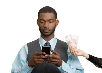 Man texting, working on smart mobile phone, making money