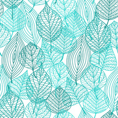 Foliage green leaves seamless pattern