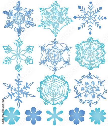 """雪の結晶 手描きイラスト""""Fotoli..."""