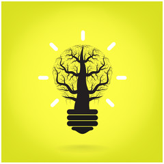 Green and initiative concept. Tree of green idea shoot grow in a