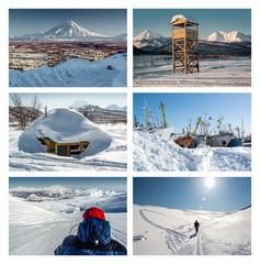 Kamchatka Peninsula collage. Far East, Russia