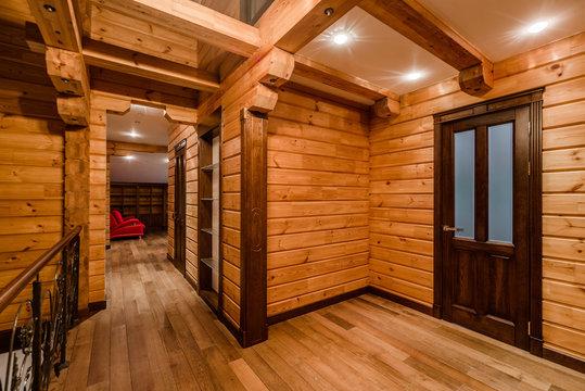 Inside of log cabin