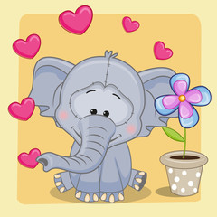 Elephant with heart and flower