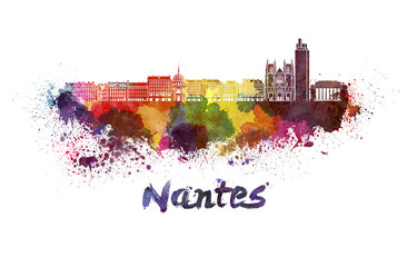 Nantes skyline in watercolor Fototapete