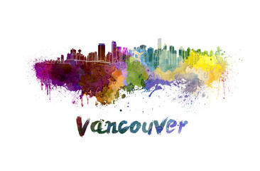 Vancouver skyline in watercolor Wall mural