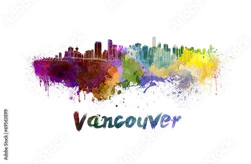 Fototapete Vancouver skyline in watercolor