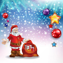 Abstract Christmas greeting with Santa Claus and decorations