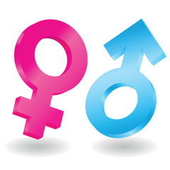 3d illustration of male and female symbols on white background,