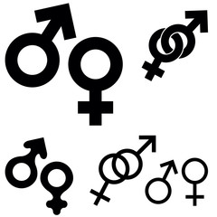 Collection of sex symbols isolated on white background, vector