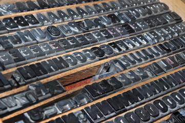 Old printing press typeset