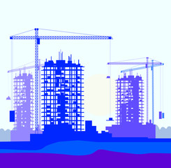 Vector   banner of construction site with cranes