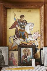 Byzantine iconography inside a cretan church