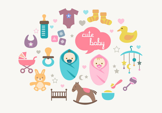 Greetings Card - Babies and Toys