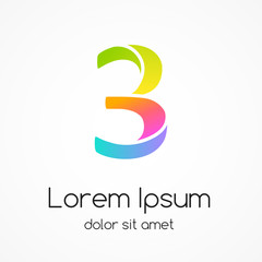 Logo number 3 company vector design template.