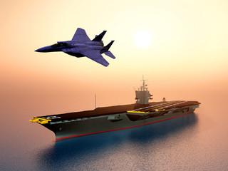 Kampfflugzeug und Flugzeugträger