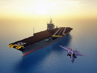Flugzeugträger und Kampfflugzeug