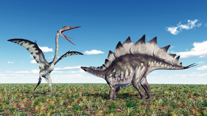 Quetzalcoatlus and Stegosaurus