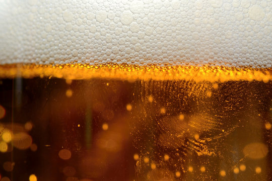 dewy beer in a glass