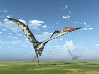 Quetzalcoatlus and Mamenchisaurus