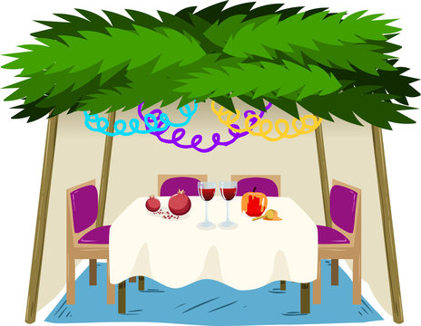 Sukkah For Sukkot With Food On Table