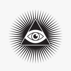 All seeing eye symbol, star shape, vector illustration