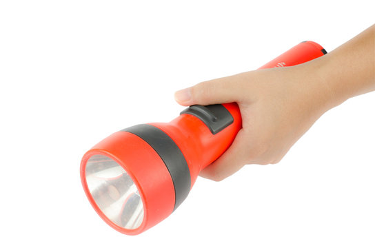 Woman hand hold flashlight