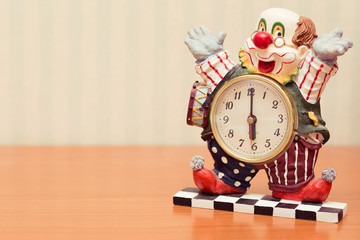 clown clock, vintage look.