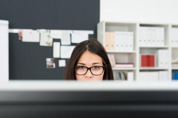junge frau schaut auf computer-monitor