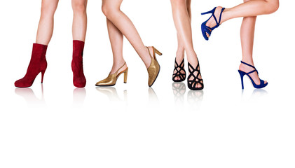 Wall Mural - Beautiful woman legs with shoes.Fashion with copy space.