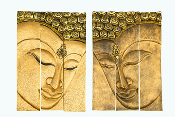 Buddha's face wood carving