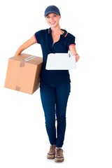 Happy delivery woman holding cardboard box and clipboard