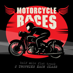 Vintage Motorcycle race poster, vector