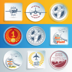Airplanes and aviation labels and stickers. EPS10.