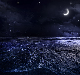 beautiful night sky in the open sea