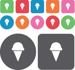 Ice cream cones icons set. Round and rectangle colourful 12 butt