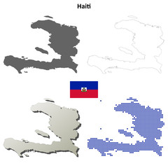 Haiti blank detailed outline map set