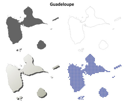 Guadeloupe blank detailed outline map set