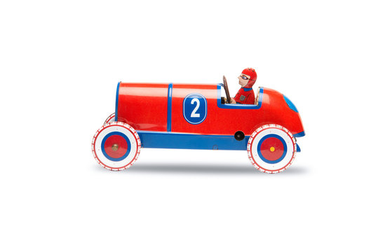Toy Soap Box Derby Cars isolated on white,clipping path