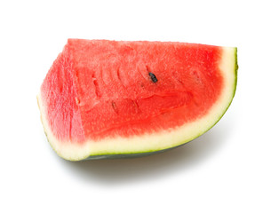 a piece of watermelon on a white background
