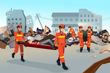 Rescue teams searching through the destroyed buildings