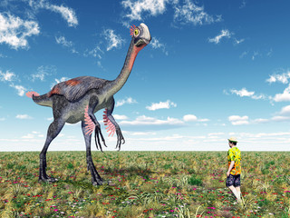Gigantoraptor and Tourist