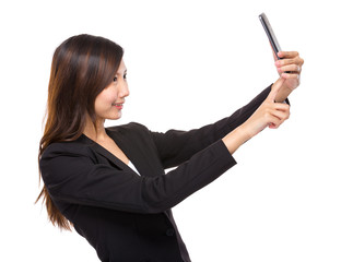 Woman selfie with mobile