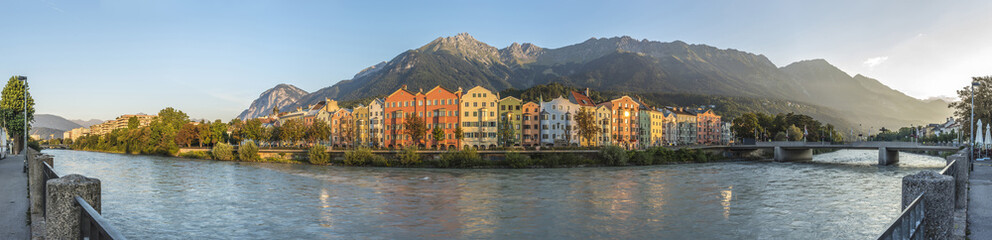 Inn river on its way through Innsbruck, Austria. Wall mural