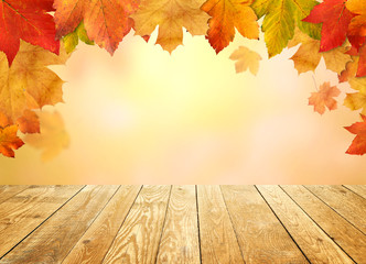 Background  Autumn with wooden planks