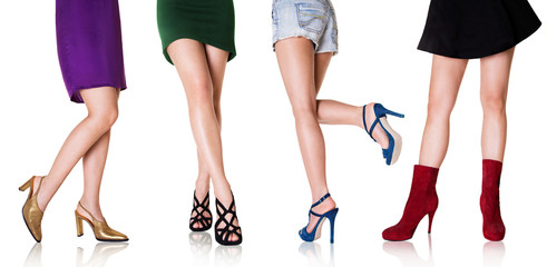 Wall Mural - Beautiful woman legs with shoes.Fashion styles.