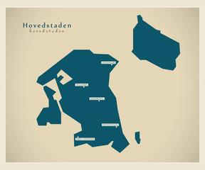 Moderne Landkarte - Hovedstadens DK